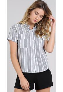 Camisa Feminina Listrada Com Bolso E Botões Manga Curta Cinza