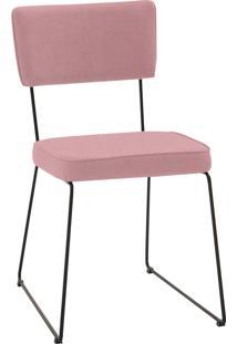 Cadeira Roma Aço Tecido Daf Coral Rosa