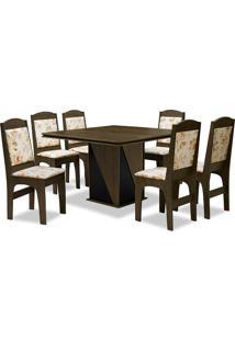 Conjunto De Mesa Para Sala De Jantar Com 6 Cadeiras Lisse-Dobuê - Castanho / Preto / Bege Floral