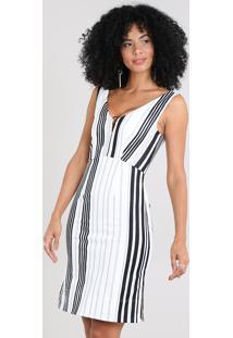 506b47408 ... Vestido Feminino Listrado Com Decote V E Argola Off White