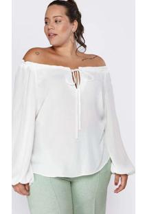 Blusa Almaria Plus Size Pianeta Ciganinha Branco