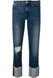 Frame Distressed Straight Jeans - Azul