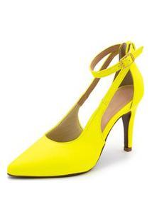 Sapato Scarpin Aberto Salto Alto Fino Em Napa Amarela Neon