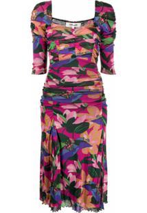 Dvf Diane Von Furstenberg Vestido Franzido Com Estampa Floral - Rosa