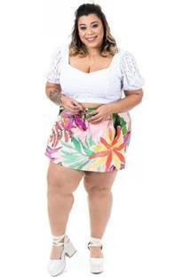 Cropped Plus Size Luz Brio Feminino - Feminino-Branco