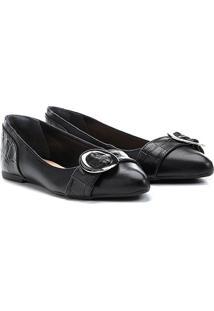 Sapatilha Couro Shoestock Croco Feminina - Feminino-Preto