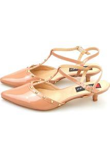 Scarpin Salto Baixo Love Shoes Spike Verniz Nude