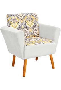 Poltrona Decorativa Dora Estampado D77 Com Suede Brancod'Rossi - Branco - Dafiti