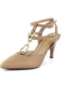 Sapato Bendito Conforto Scarpin Fivela Bico Fino New Pele Antique Nude