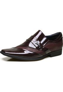 Sapato Social Calvest Em Couro Com Textura E Verniz Bordô