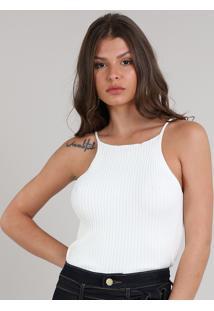 Regata Feminina Em Tricô Halter Neck Decote Redondo Off White