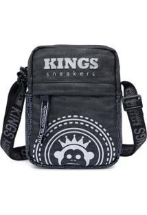 Shoulder Kings Sneakers Bag Bolsa Transvesal Masculina - Masculino-Preto