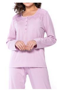 Pijama Longo Com Peitilho Abotoável Podiun (5135) 100% Algodão