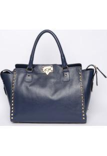 Bolsa Texturizada Com Rebites - Azul Marinho - 30X36Griffazzi