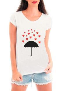 Camiseta Bata Criativa Urbana Chuva De Corações Guarda-Chuva Amor - Feminino-Branco