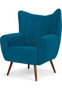 Poltrona Decorativa Para Sala De Estar Kora Pã©S Palito Tress㪠Veludo Liso B-170 - Lyam Decor - Azul - Dafiti