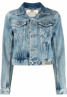 Diesel Jaqueta Jeans Cropped Com Lavagem Estonada - Azul