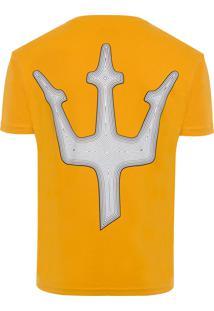 Camiseta Masculina Big-Shirt Tridente Lines - Amarelo