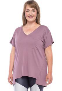 Camisetas Manga Curta Mulher Elastica V Pocket Plus Size - Lilás Escuro - Ps Rosa