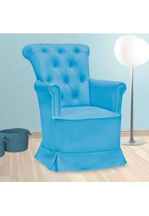 Poltrona Amamentação Paola Sem Puff Corino Azul - Confortável