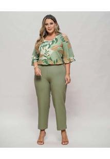 Blusa Almaria Plus Size New Umbi Ombro Vazado Verd