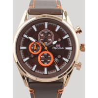 53a7e7d3cf4 Relógio Cronógrafo Philip London Masculino - Pl80018612M Marrom - Único