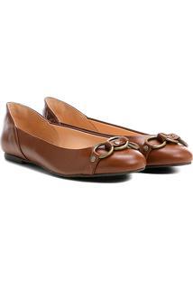 Sapatilha Couro Shoestock Argolas Feminina - Feminino-Marrom