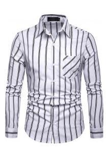 Camisa Masculina Com Listras Verticais Finas Manga Longa - Branco