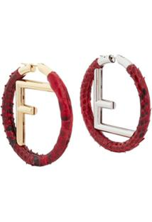 Fendi F Logo Hoops - Vermelho