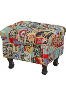 Puff Decorativo Lymdecor Paris Vintage Multicolorido