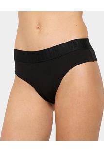 Calcinha Tanga Calvin Klein Cotton Black - Feminino-Preto
