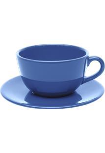 Conjunto 6 Xícaras De Chá Com Pires Oxford Cerâmica Unni Blue Azul