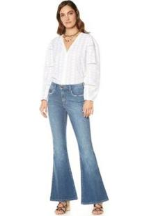Calça Maria. Valentina Flare M. Victoria Cós Intermediário Detalhe Pesponto Jeans Feminina - Feminino