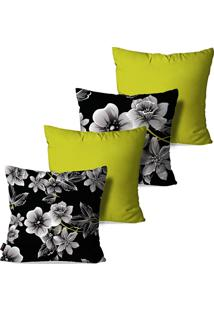 Kit Com 4 Capas Para Almofadas Pump Up Decorativas Verde Flores 45X45Cm