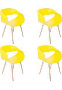 Kit 04 Cadeiras Petra Encosto Curvo Sala De Jantar Amarela Pés Madeira - Facthus