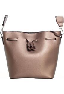 Bolsa Saco Com Transpasse 10208988 Birô Feminina - Feminino-Bronze
