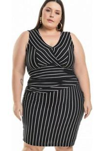 Vestido Plus Size Viscolycra Assimétrico Miss Masy Plus Feminino - Feminino-Preto