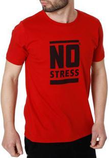 Camiseta Manga Curta Masculina No Stress Vermelho