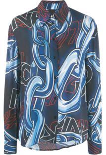 Pinko Blusa Com Estampa De Grafite - Azul