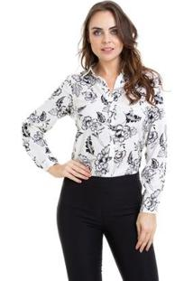 Camisa Kinara Estampada Manga Martingale Feminina - Feminino-Bege