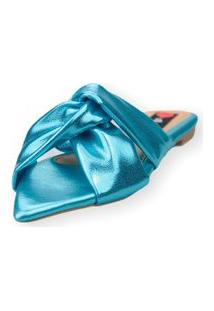 Sandalia Love Shoes Rasteira Bico Folha Mule Nó Metalizado Azul