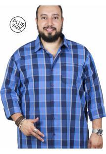 Camisa Plus Size Bigshirts Manga Longa Xadrez Azul/Azul