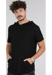 Camiseta Masculina Em Moletom Flamê Com Bolso E Capuz Manga Curta Preta