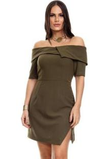 Vestido Clara Arruda Decote Transpasse - Feminino-Verde