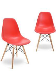 Kit 02 Cadeiras Eiffel Charles Eames Vermelho F01 Com Base De Madeira