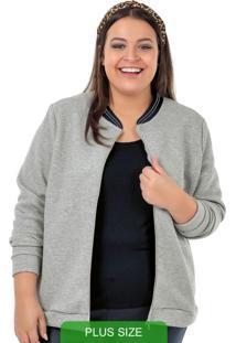 Jaqueta Em Matelassê Com Zíper Cinza