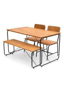 Conjunto Class Mesa Jantar + 2 Cadeiras + Banco Mel Base Preta - 62555 Mel