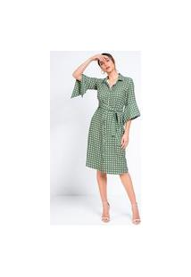 Vestido Chemise Richini Poá Estampado Verde