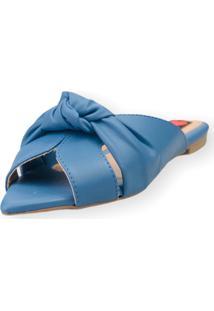 Sandalia Rasteira Love Shoes Bico Folha Nó Fechado Azul