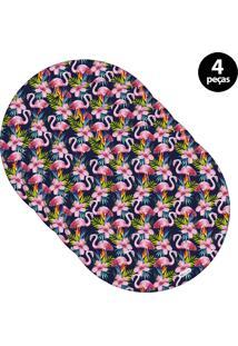 Sousplat Mdecore Flamingo 32X32Cm Azul Marinho 4Pçs